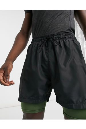 South Beach Double layered performance shorts with inner pocket in black & khaki-Multi