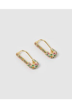 Izoa Apres Safety Pin Huggie Earrings - Jewellery Apres Safety Pin Huggie Earrings