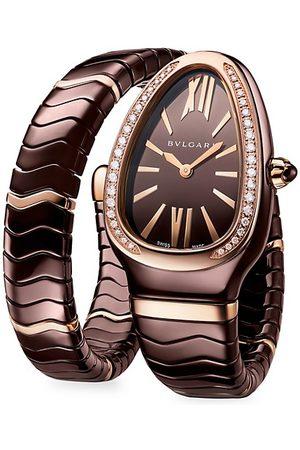 Bvlgari Serpenti Tubogas 18K Rose Gold, Brown Ceramic & Diamond Single Twist Watch