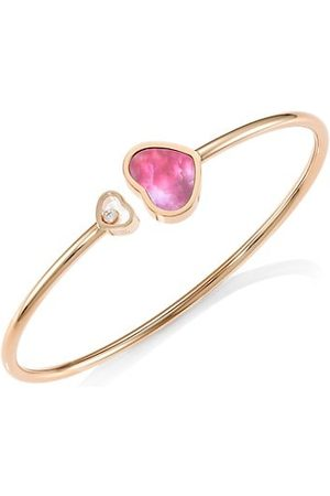 Chopard Happy Hearts 18K Rose Gold, Diamond & Pink Mother-Of-Pearl Bangle