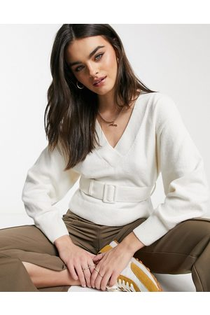 & OTHER STORIES & belted balloon sleeve sweater in off- white