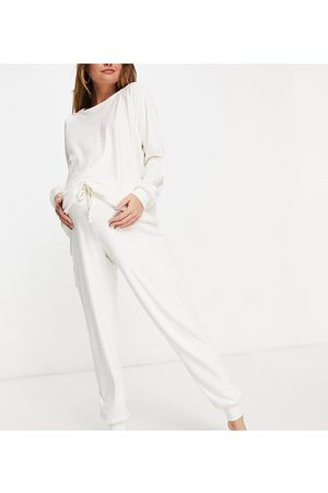Chelsea Peers Maternity recycled poly super soft fleece lounge sweat and trackies set in cream