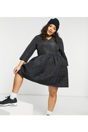 Daisy Street Mini smock dress in black quilted heart jacquard