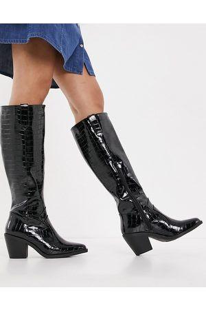 Glamorous Knee-high western boots in black
