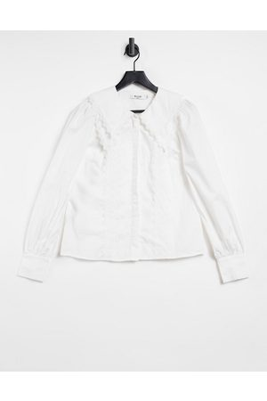 NA-KD Oversized lace collar shirt in white