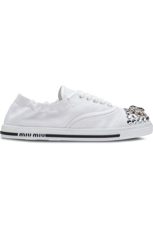 Miu Miu Women Sneakers - Crystal embellished low-top sneakers