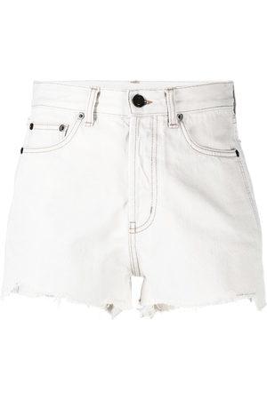 Saint Laurent Raw edge frayed denim shorts