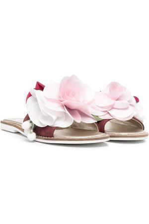 MONNALISA Floral appliqué slip-on sandals