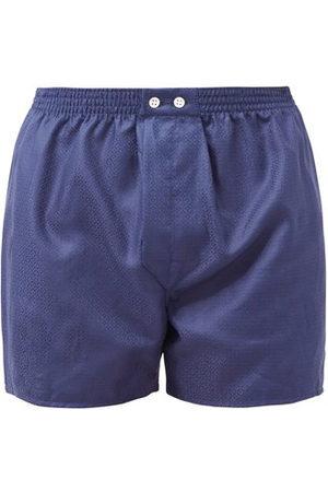 DEREK ROSE Lombard Logo-jacquard Cotton Boxer Shorts - Mens - Navy
