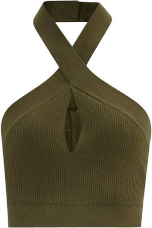 Balmain Twisted-halterneck Stretch-knit Cropped Top - Womens - Khaki