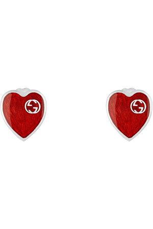 Gucci Earrings with Interlocking G enamel heart