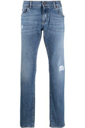 Dolce & Gabbana Men Straight - Logo-patch denim jeans