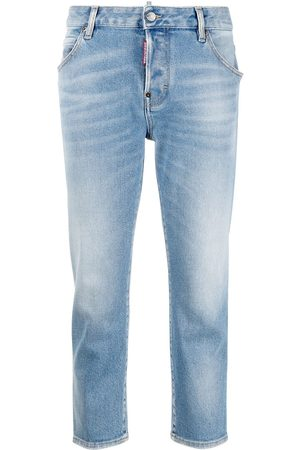 Dsquared2 Women Jeans - Cropped logo-patch denim jeans