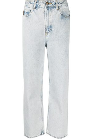 Ganni Women High Waisted - Washed high-waisted cropped jeans