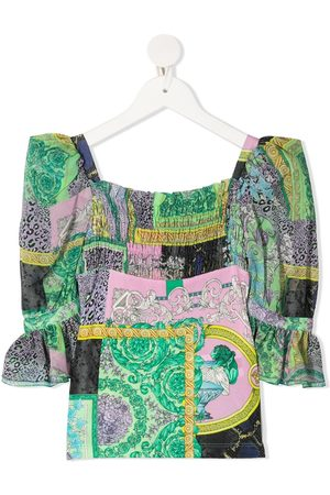 VERSACE Mixed-print blouse