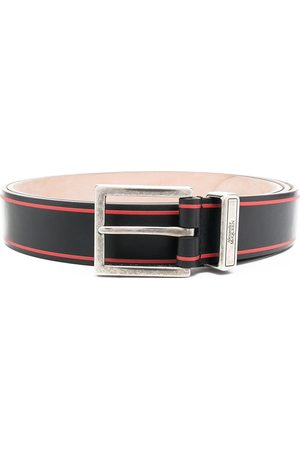 Alexander McQueen Men Belts - Logo print tonal buckle belt