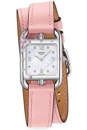 Hermès Cape Cod Sapphire, Diamond, Steel & Leather Strap Watch