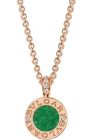 Bvlgari Necklaces - Classic 18K , Jade & Diamond Pendant Necklace