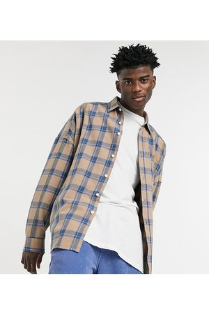 COLLUSION Oversized shirt with overstitching in beige check