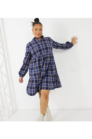 New Look New Look Curve button front check smock mini dress in blue pattern