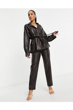 ASOS Waisted leather look shacket in chocolate-Brown