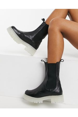 ASOS Admire premium leather chunky chelsea boots in black and clear