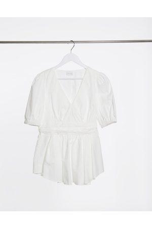 Vila Poplin blouse in white