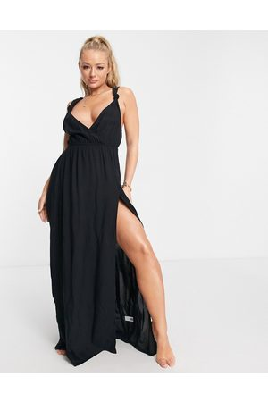 ASOS Recycled knot strap maxi beach dress in black
