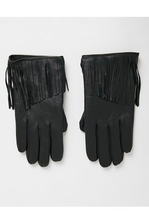 ASOS Leather gloves in black with tassel detail