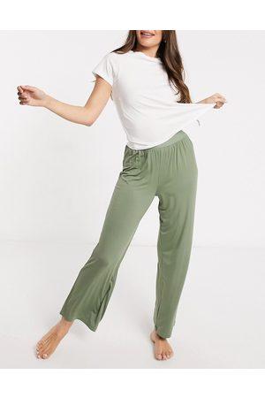 ASOS Mix & match soft pyjama pants with elastic waistband in khaki-Green