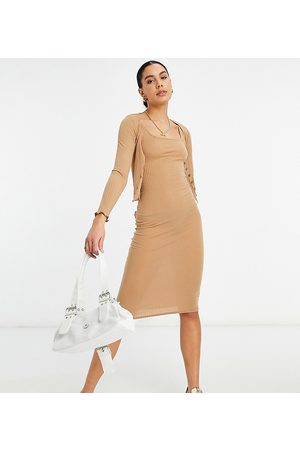 New Look Ribbed dress and cardi set in camel-Tan