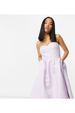 Chi Chi Petite Chi Chi London Petite high low bandeau midaxi dress in lavender-Pink