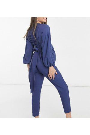 ASOS Maternity kimono sleeve button through tea jumpsuit in blue