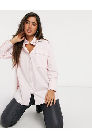 Lost Ink Oversized longline shirt with contrast stitch-Pink