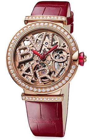 Bvlgari Watches - LVCEA 18K , Diamond & Alligator Strap Skeleton Watch