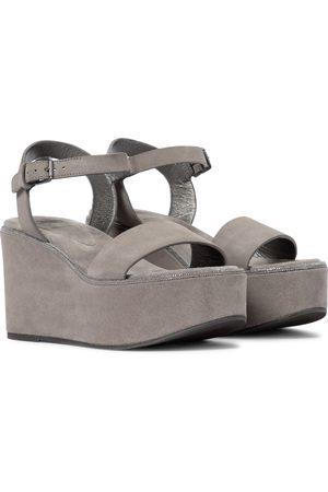Brunello Cucinelli Women Wedges - Suede platform wedge sandals