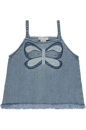 Stella McCartney Girls Tank Tops - Embroidered stretch-denim tank top
