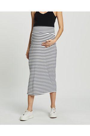 Angel Maternity Women Pencil Skirts - Maternity Midi Skirt - Pencil skirts (Cream Stripes) Maternity Midi Skirt