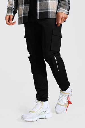 Boohoo Mens Tall Multi Cargo Pocket Cuffed Trouser