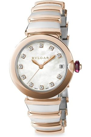 Bvlgari Watches - LVCEA , 18K Rose Gold & Diamond Automatic Bracelet Watch