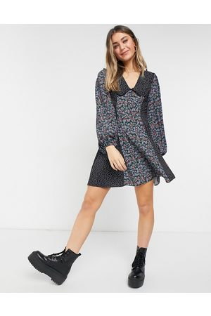 ASOS Button front mini skater dress with collar in mixed ditsy floral-Multi