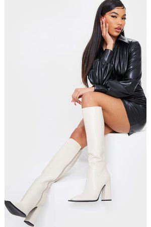 PRETTYLITTLETHING Cream Croc High Block Heel Knee Boots