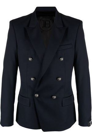 Balmain Men Blazers - Double-breasted wool blazer