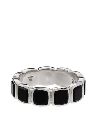 TOM WOOD Men Rings - Onyx embellished band ring