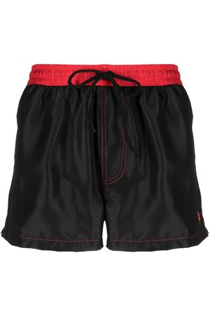 GCDS Men Board Shorts - Two-tone swim shorts