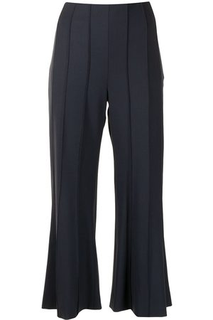MONSE Cropped flared pintuck trousers
