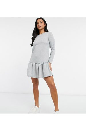 New Look Drop hem sweatshirt dress in light grey