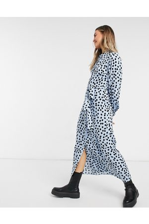 New Look Belted midaxi shirt dress in blue polka dot