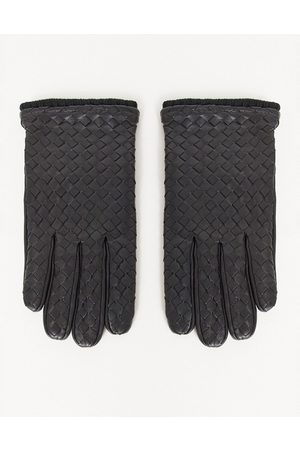 ASOS Leather driving gloves in black with texture detail