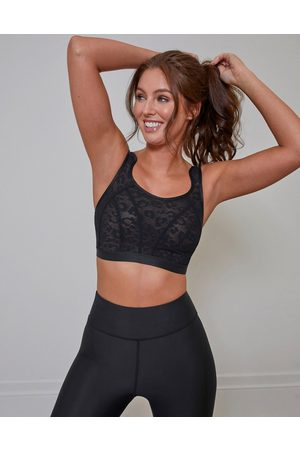 Pour Moi Energy Strive Non-Wired Full Cup Lace Sports Bra in Black
